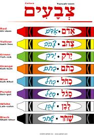 Akhlah Crayons Worksheet Colors In Hebrew English And