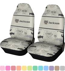hipster cats mustache car seat covers set of two personalized