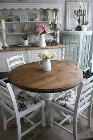 dining room shape round wood table white chairs