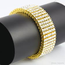 2018 men charm vine 6 row iced out bracelet 14k gold silver lab diamond hip hop bracelet fashion jewelry best gift from beajewelry 18 12 dhgate
