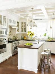 white country kitchen with butcher block. A Beautiful White Kitchen With Coffered Ceiling! Pendant Lighting, Butcher Block Island W/ Mini Sink. Country K