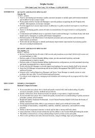 Qa Specialist Sample Resume Quality Assurance Specialist Resume Samples Velvet Jobs 8