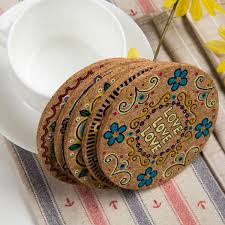 Home & Garden Coasters <b>4 Pcs</b> Round Cup Coasters Patterned Pot ...
