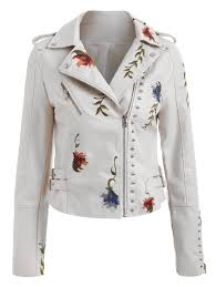 embroidery rivet faux leather jacket warm white m