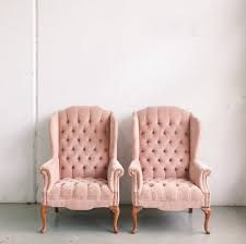 vintage velvet chair. Delighful Velvet Two Tufted Pink Velvet Wingback Chairs Via Chicago Vintage Weddings  Chairs In Chair A