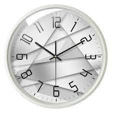 Horloge murale silencieuse en métal/PVC 4 modèles 2 couleurs dessin  géométrique simple