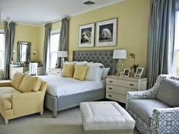 awesome yellow and grey wall decor in master bedroom ideas