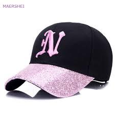 <b>MAERSHEI</b> new <b>ladies</b> letter embroidered baseball cap sequins ...