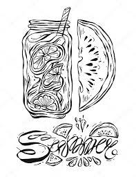 手描きベクトル夏並んでガラススイカのスライスと夏手書きレタリングで