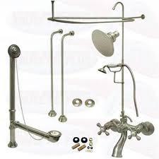 satin brushed nickel clawfoot tub faucet kit w shower riser enclosure drain