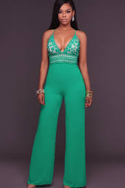 Green Plunging <b>V Neck</b> Strappy <b>Backless Lace Crochet</b> Sexy Jumpsuit