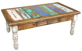 painted wood coffee table with white