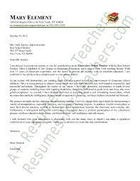 Experienced Teacher Cover Letters Elementary Teacher Cover Letter Sample Teaching Teaching Resume