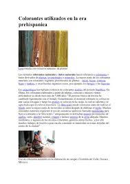 Calam O Colorantes Utilizados En La Era Prehispanica