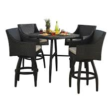grey wicker outdoor dining sets. rst brands deco 5-piece all-weather wicker patio bar height dining set with slate grey cushions-op-pebst5-slt-k - the home depot outdoor sets