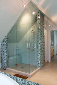 shower stall lighting. Attic Bedroom Remodel : Modern Bathroom Idea With Shower Stall Using Glass Door And Mosaic Lighting E