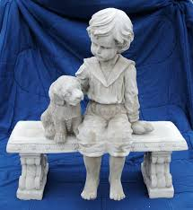 fishing statues garden boy with dog on bench fishing boy garden statues