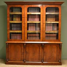 Stunning Figured Mahogany Large Bookcases Antique Library Bookcase With  Four Shelves Plus Triple Shelving Three Doors ...