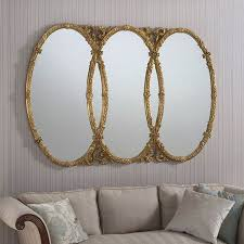 triple oval mirror ornate gold 160 x