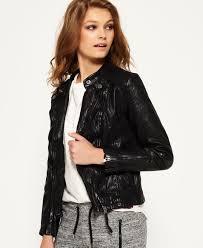 superdry silka leather biker jacket black superdry ireland m25c7655 superdry coats superdry