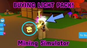 Roblox Mining Simulator Light Pack Buying Light Pack Mining Simulator Roblox Youtube