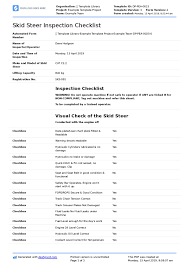 Skid Steer Size Chart Skid Steer Inspection Checklist Form Free And Editable