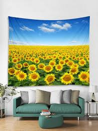 fine day sunflowers print tapestry wall hanging art decoration w79 x l71 inch