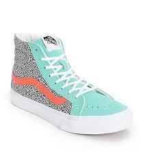vans shoes for teenage girls. vans girls sk8-hi slim geo cockatoo \u0026 hot coral skate shoess shoes for teenage o