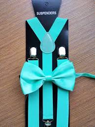 Fashion Summer, Teal Turquoise Mint Green Suspender to Match Bowtie Tuxedo Matching  Color