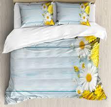 yellow flower duvet cover set seasonal garden flowers on blue wooden planks rustic arrangement print 4 piece bedding set in bedding sets from home garden
