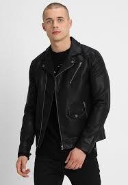 onsselger biker faux leather jacket black