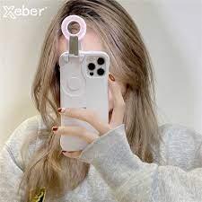 Thông Minh Làm Đẹp Camera Lấp Đầy Đèn Ốp Lưng Điện Thoại iPhone 12 Pro Max  2 Màu Xanh Bạc Hà Bé Trắng Có Thể Điều Chỉnh Lạnh ánh Sáng Ấm Áp