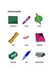 English Worksheets School Supplies
