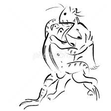 鳥獣戯画風相撲 イラスト素材 1709035 フォトライブラリー