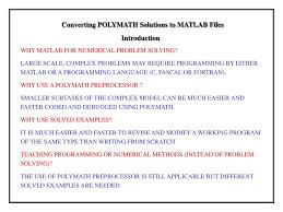converting polymath solutions to matlab files