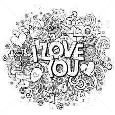 Cartoon Vector Hand Drawn Doodle I Love You Illustration Vector