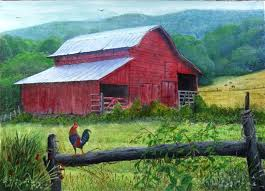 the old red barn wildlife in watercolor