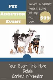 Pet Information Template Pet Adoption Event Flyer Pet Veterinarian Clinic Retail Sale