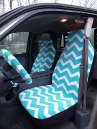 1 set of turqoise and white chevron print car seat