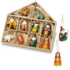 Keramik Christbaumschmuck Anhänger Krippenfiguren 10 Teiliges Set
