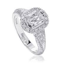 Christopher Designs Halo Engagement Ring Lamour Crisscut Diamond Engagement Ring
