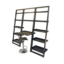 black steel leaning wall desk system office furniturewith shelves combined with black leather adjule bar stool
