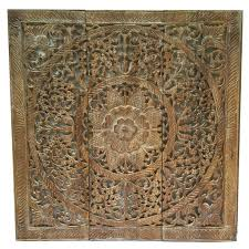 Wood Carved Wall Decor Wood Wall Plaque Round Wall Art Carved Wood Wall Decor Floral