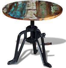 industrial side table rustic reclaimed wood vintage retro coffee round metal end