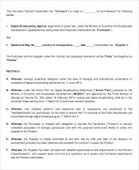 Purchase Contract Template - 9+ Free Word, Pdf Documents Download ...