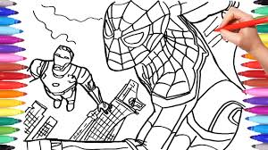 spider man and iron man coloring pages drawing coloring superheroes coloring book for kids