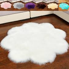 and artificial sheepskin gy fluffy faux fur decorative flower shape carpet bedroom sofa area rug solid white red black pink grey