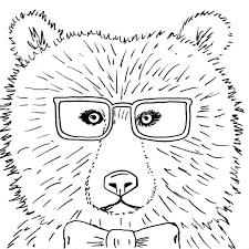 Hipster Bear With Glasses And Bow