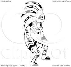 Clipart of a Sketched Black and White Kokopelli Flute Player ...