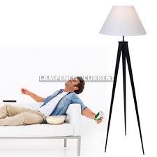 Staande Lamp 3 Poot Zwart Bankok Met Kap Linnen Wit